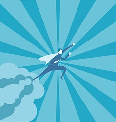 Business man fly on the sky vector image