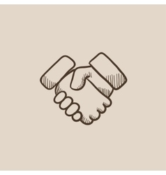 Handshake sketch icon vector image