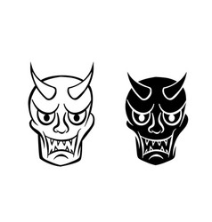 Hanya mask evil ghost face in logo and icon vector