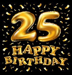 happy birthday 25rd celebration gold balloons and vector image vector image