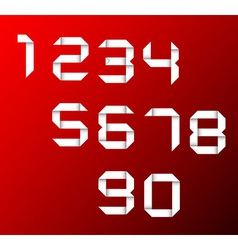 set of origami numbers vector image vector image
