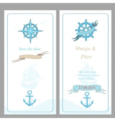 Wedding invitation template nautical style vector image vector image