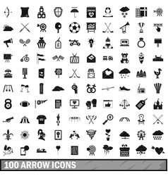 100 arrow icons set simple style vector image vector image
