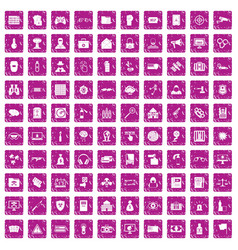100 hacking icons set grunge pink vector image vector image