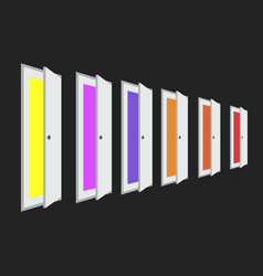 a set of open doors with different colors color vector image