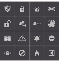 black security icons set vector image vector image