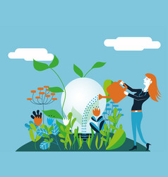 business woman watering a light bulb - for concept vector image