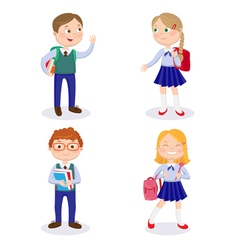 Happy Boys and Girls Go to School with Backpacks vector image vector image