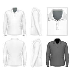 Mens long sleeve polo-shirt design template vector