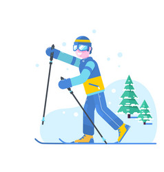 people skiing flat style design skis isolated vector image