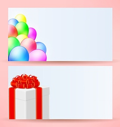 postcards with balloons and gift vector image vector image
