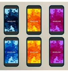 Set of abstract backgrounds for square screens vector image