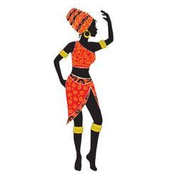 silhouette of dancing African woman vector image