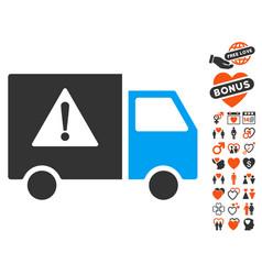 danger transport truck icon with valentine bonus vector image vector image