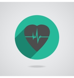 Defibrillator red heart icon isolated on yellow vector image vector image