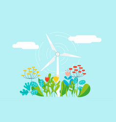electric wind mill in natural background with vector image