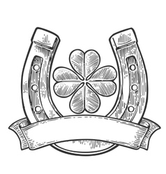 Good luck four leaf clover and horseshoe with vector image