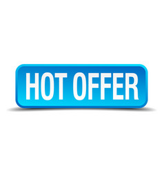 hot offer blue 3d realistic square isolated button vector image vector image