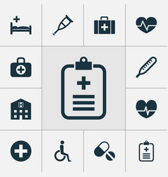 medicine icons set collection of polyclinic vector image vector image