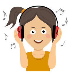 teenager girl listening to music with headphones vector image