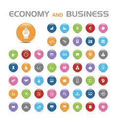 50 economy and business bubble icons vector image
