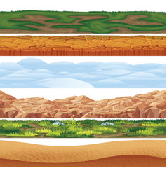 6 seamless grounds soils and land vector