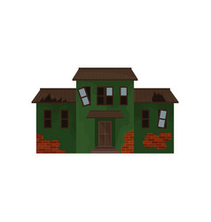 Abandoned brick home with green peeling paint vector