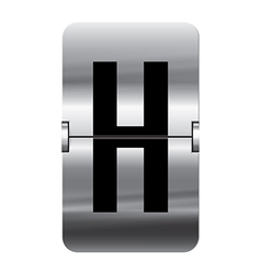 Alphabet silver flipboard letters h vector