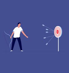 Arrow past target upset man business failure vector
