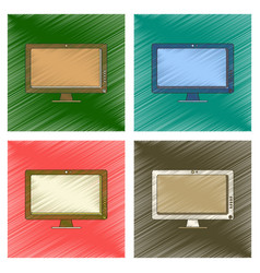 Assembly flat shading style icon computer monitor vector