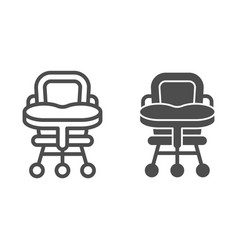 Baby chair line and glyph icon high chair vector