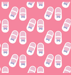 baby girl shoes seamless pattern vector image