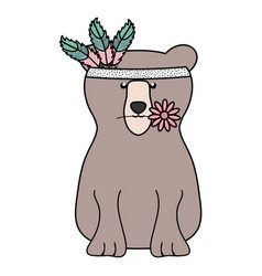 bear grizzly with feathers hat bohemian style vector image