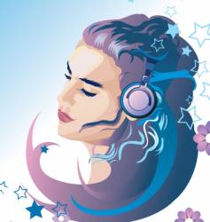 Beautiful girl listening to music vector