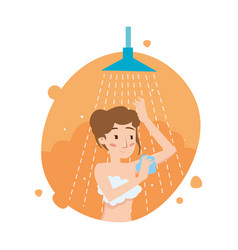Beautiful girl washes body in the shower vector