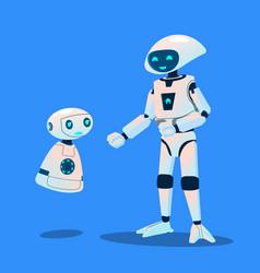 big robots laughing at small robot vector image