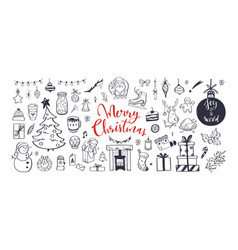 big set christmas design doodle elements vector image
