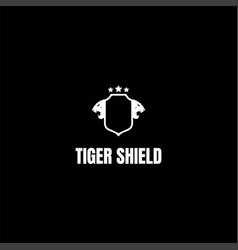 blank tiger leopard jaguar head shield logo design vector image