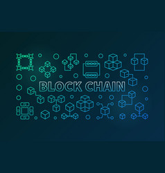 block chain colored banner in thin line vector image