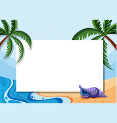 Border template with coconut trees and shell on vector