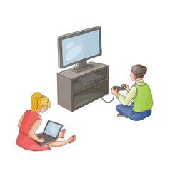 boy playing video game girl using laptop vector image