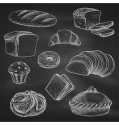 Bread chalk sketch icons on blackboard vector