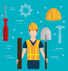 Builder character with construction equipment vector