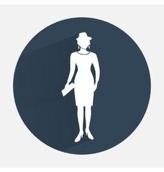 Busines woman icon Fashion lady with small bag vector