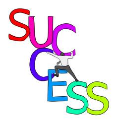 Businessman climbing on colorful big success vector