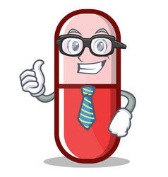 Businessman pill capsule cartoon character vector