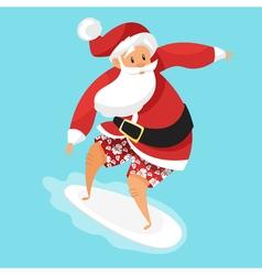 Cartoon style of Santa surfer vector