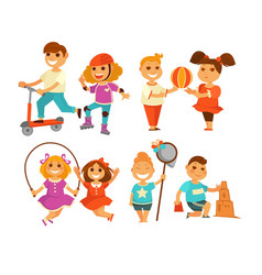 Children outdoor activity boy and girl childhood vector