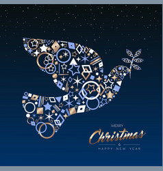 Christmas and new year card of copper peace dove vector