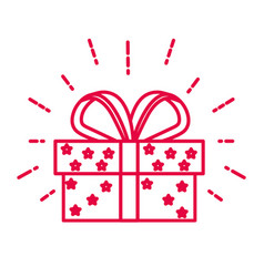 christmas present and gift box with bow ribbon vector image